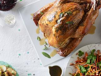 Dry-brined turkey with cranberry relish and verjuice pan juices