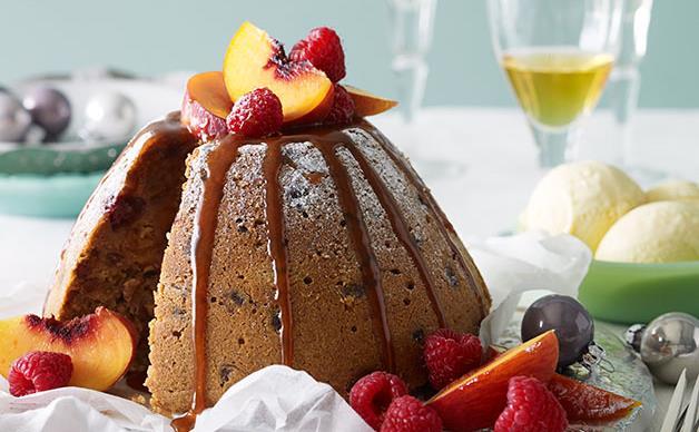 Raspberry and peach butterscotch pudding