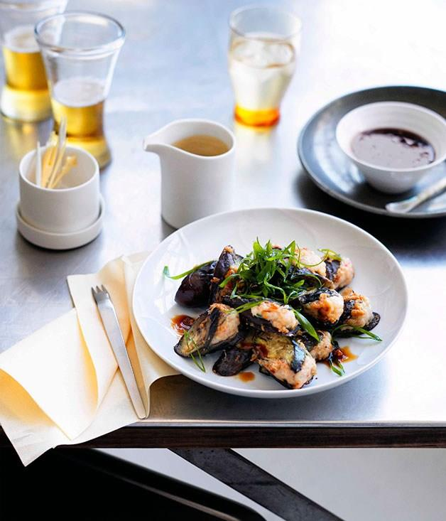 **Hakka-style eggplant with prawn filling**