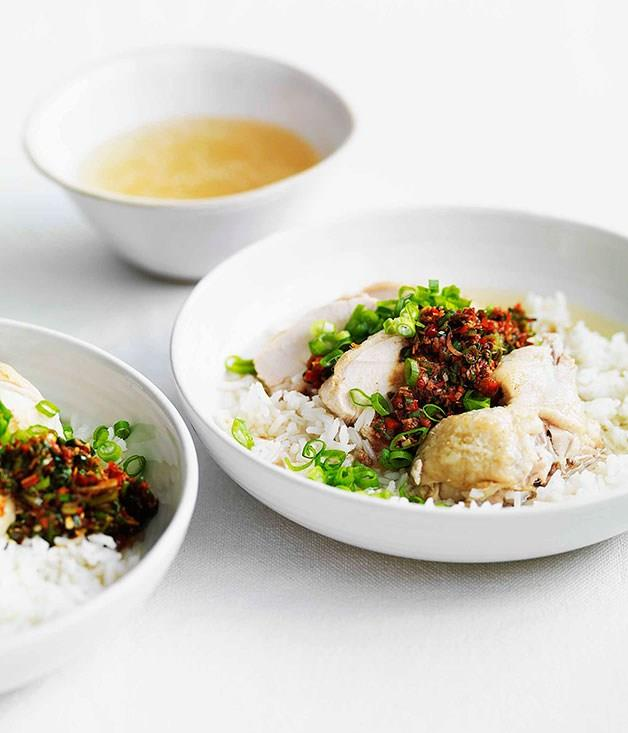 **Chinese chicken with soupy rice, ginger and spring onion dressing**
