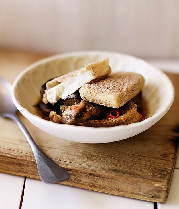 **Salt-and-pepper tofu with braised eggplant**