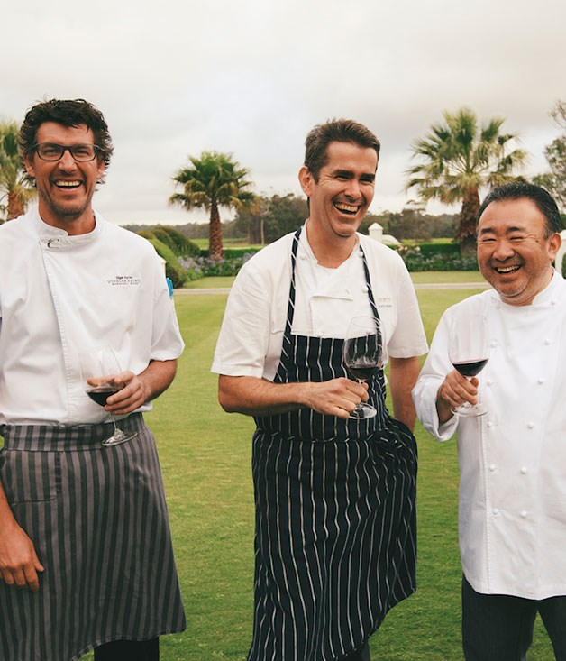 **** Chefs Nigel Harvey (Voyager Estate), Shane Osborn (St Betty, Hong Kong) and Tetsuya Wakuda ahead of their _GT_ dinner at Voyager.