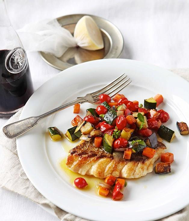 """[**Ratatouille with ruby snapper**](https://www.gourmettraveller.com.au/recipes/fast-recipes/ratatouille-with-ruby-snapper-13226