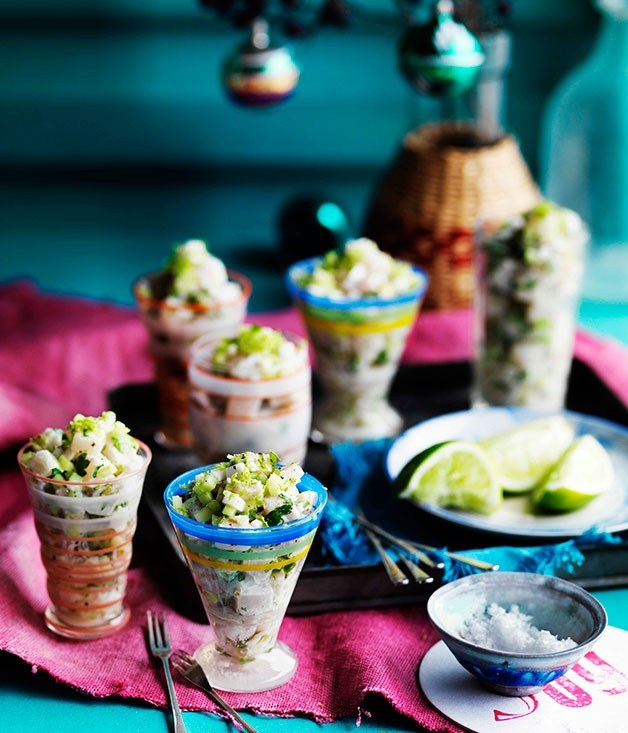 **Kingfish ceviche with young coconut and lime**