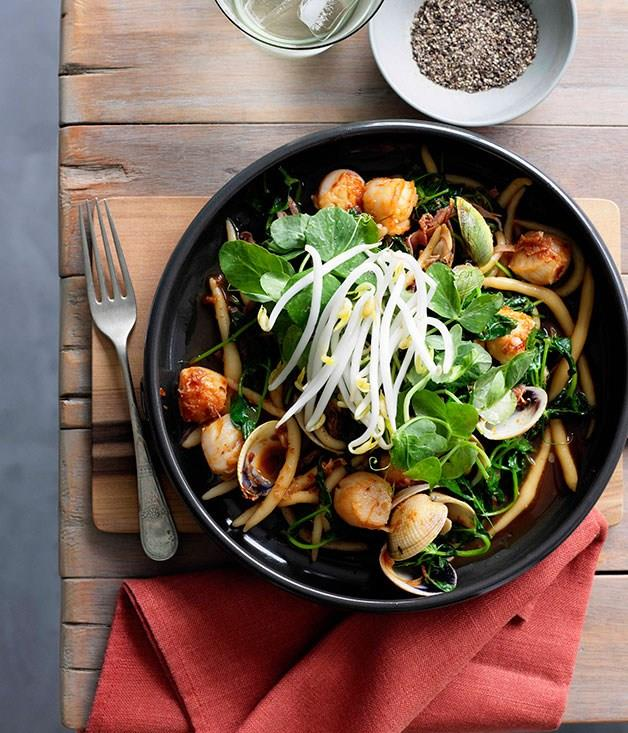 """[**Kneaded noodles with scallops, clams, ham and XO sauce**](https://www.gourmettraveller.com.au/recipes/browse-all/kneaded-noodles-with-scallops-clams-ham-and-xo-sauce-10802