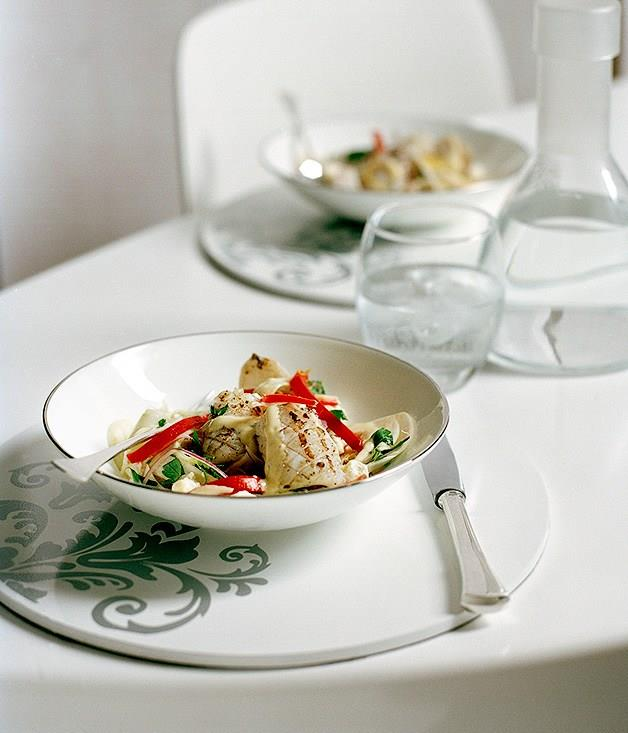 """[**Chargrilled squid with fennel, lemon and feta salad and verjuice dressing**](https://www.gourmettraveller.com.au/recipes/chefs-recipes/chargrilled-squid-with-fennel-lemon-and-feta-salad-and-verjuice-dressing-8844
