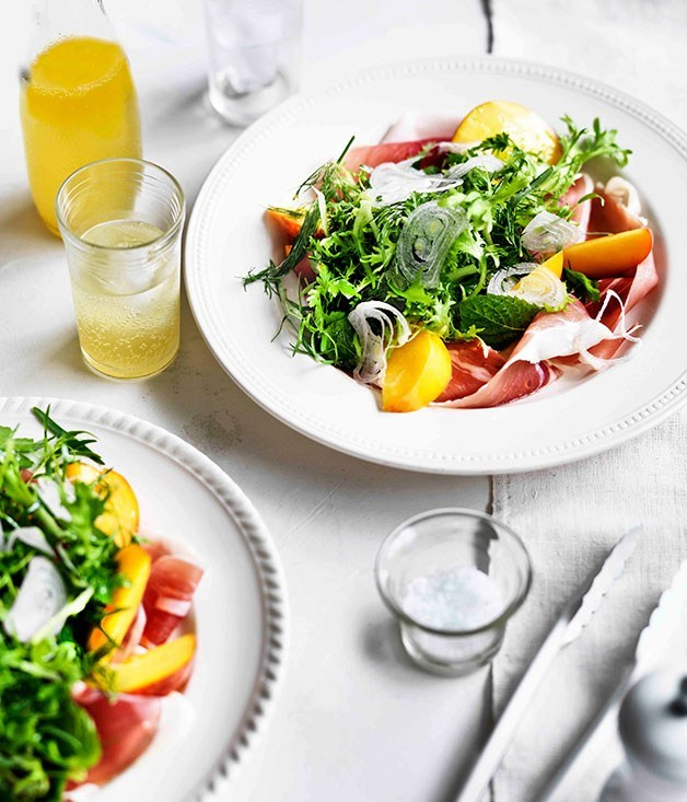 **Herb salad with peaches and prosciutto**