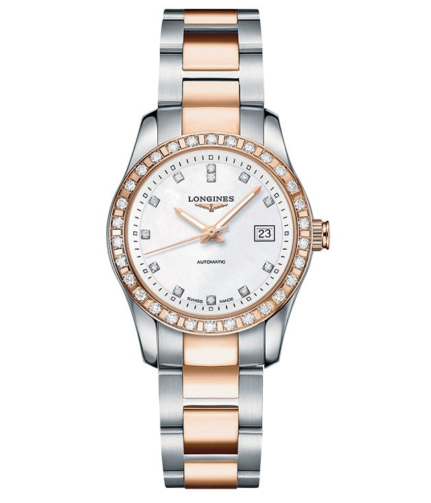 **On track** Longines' new line, Conquest Classic, is a tribute to the watches it first produced for racegoers and jockeys in 1881. Ladies steel and 18-carat rose gold watch with diamonds, $6975. (03) 8844 3300