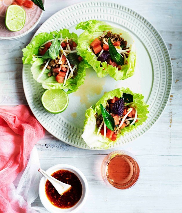 **Pork in lettuce cups with watermelon and bean sprouts**