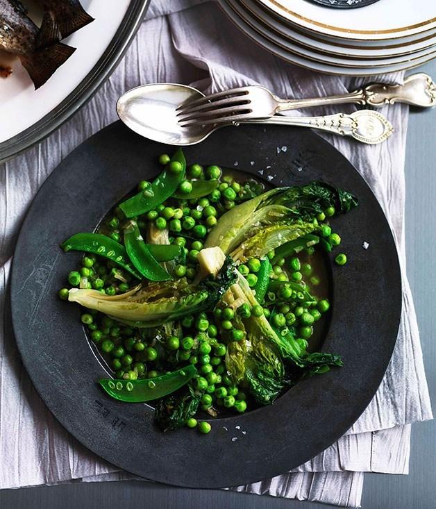 **Braised lettuce and peas**