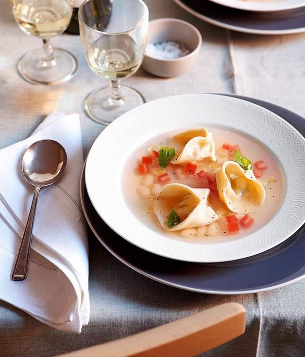 """[**White tomato soup with goat's cheese tortellini**](https://www.gourmettraveller.com.au/recipes/chefs-recipes/white-tomato-soup-with-goats-cheese-tortellini-8972
