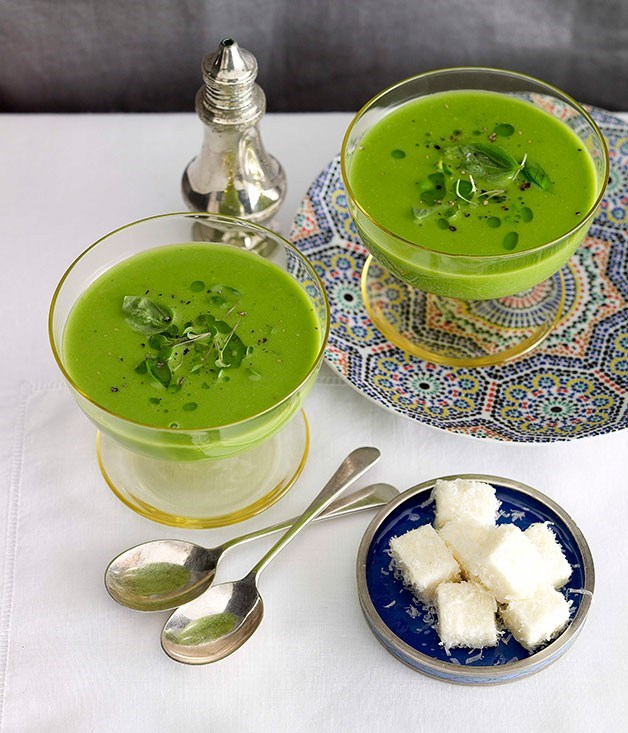 **Green pea soup with parmesan marshmallow**
