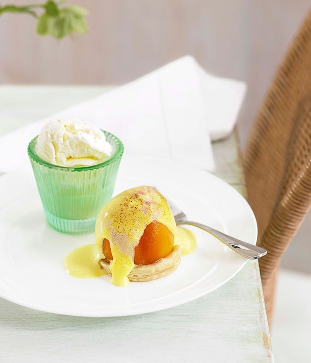 **Baked Peaches with Amaretto Sabayon**