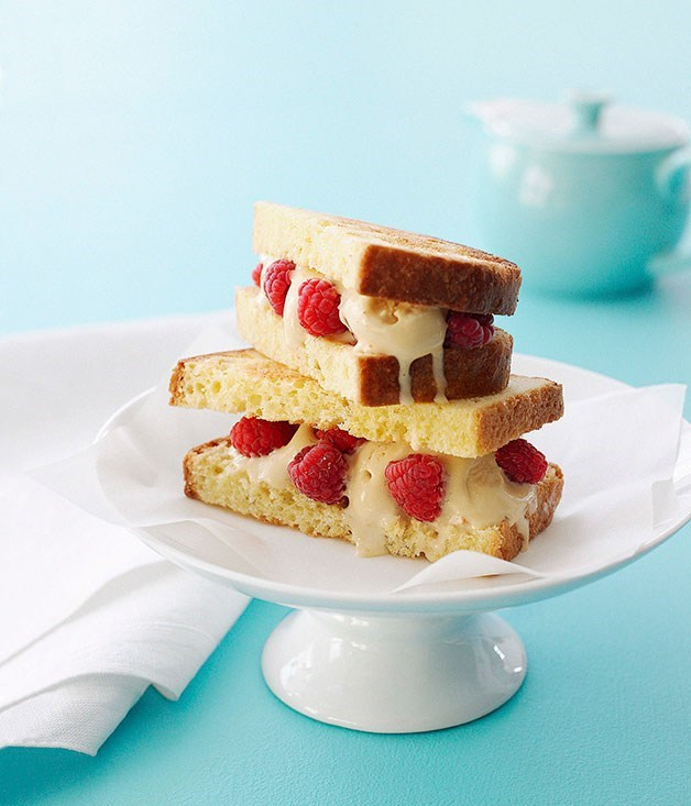 **Burnt-Honey Ice-Cream and Raspberry Brioche Sandwiches**