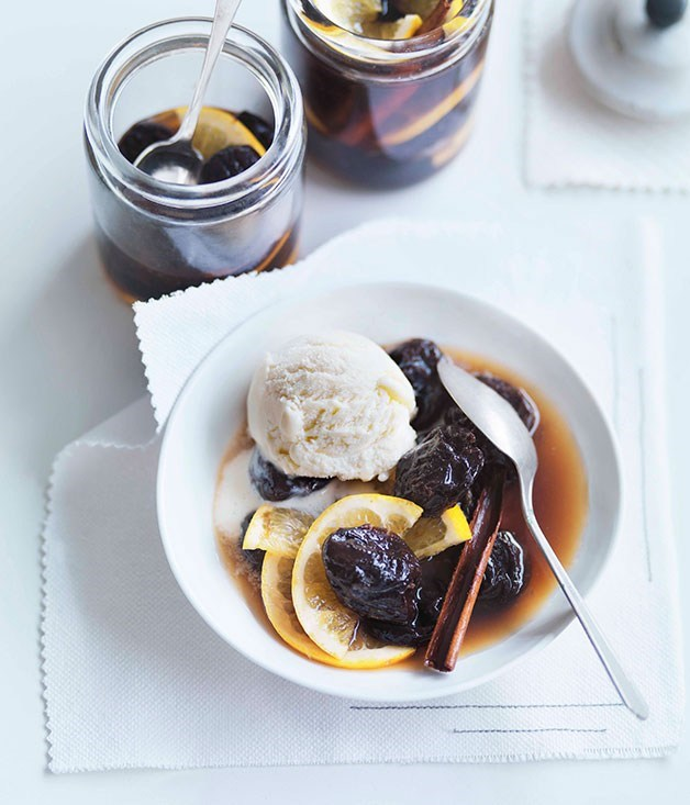 **Prunes and Oranges in Cognac with Crème Fraîche Ice-Cream**