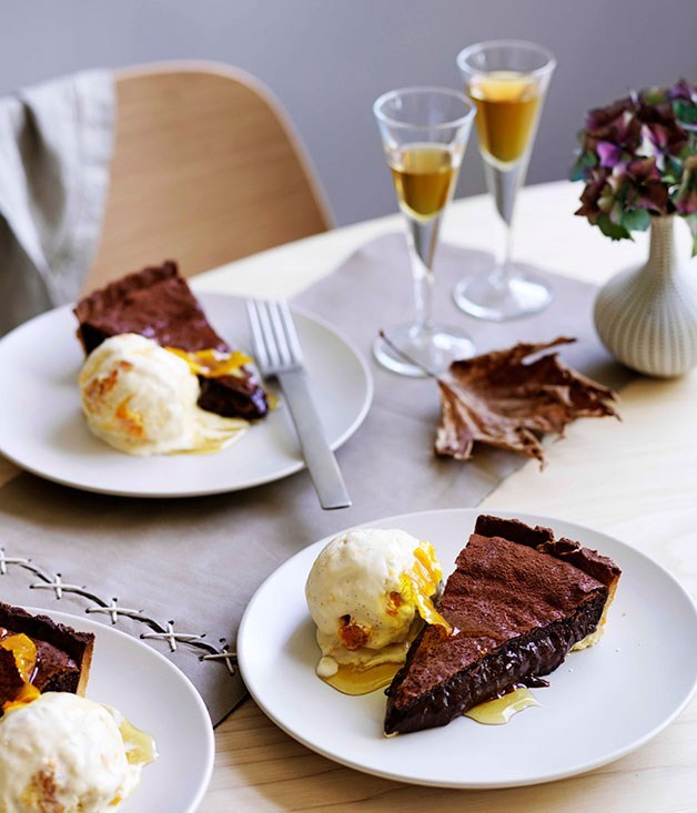 "**[Chocolate tart with orange ice-cream](https://www.gourmettraveller.com.au/recipes/browse-all/chocolate-tart-with-orange-ice-cream-11695|target=""_blank"")**"