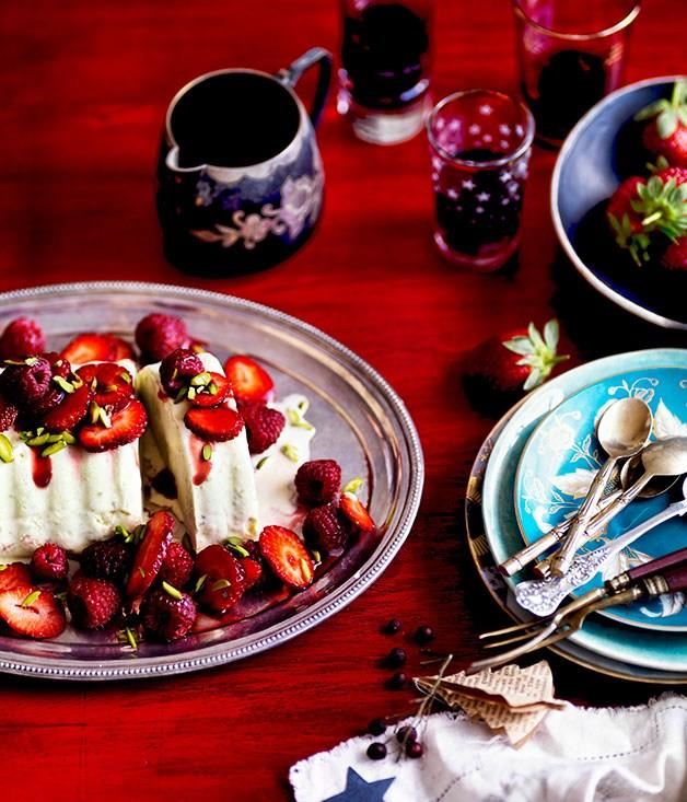"""[Pistachio ice-cream cake with red summer berries](https://www.gourmettraveller.com.au/recipes/browse-all/pistachio-ice-cream-cake-with-red-summer-berries-10894