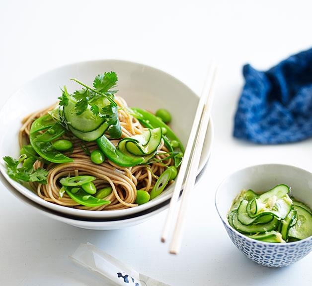 Soba with edamame and quick pickled cucumber