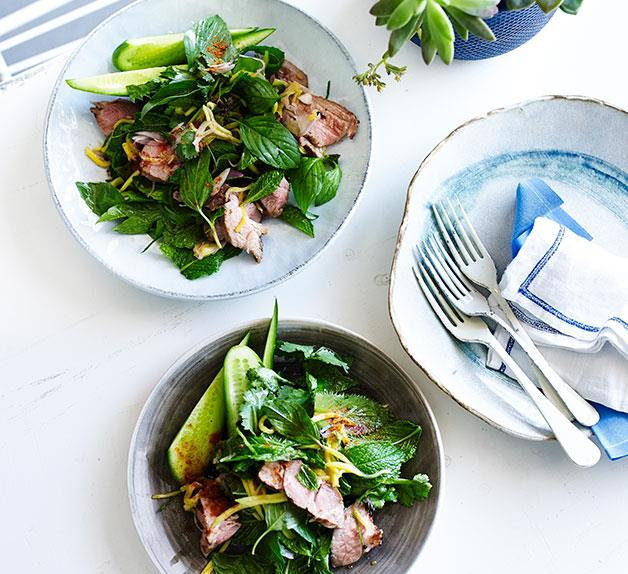 Thai grilled pork salad with green mango