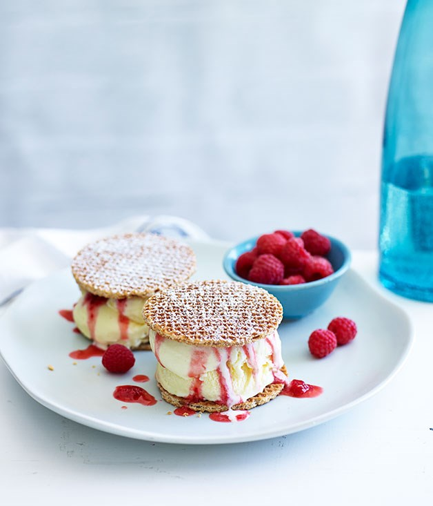 Dutch waffle ice-cream sandwiches with crushed raspberries