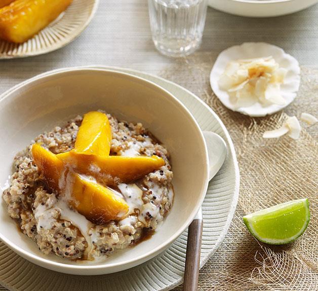Sweet coconut quinoa with sticky mango