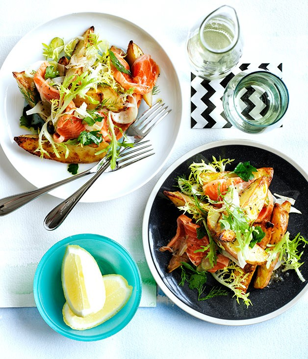 Roast potato, trout and fennel salad