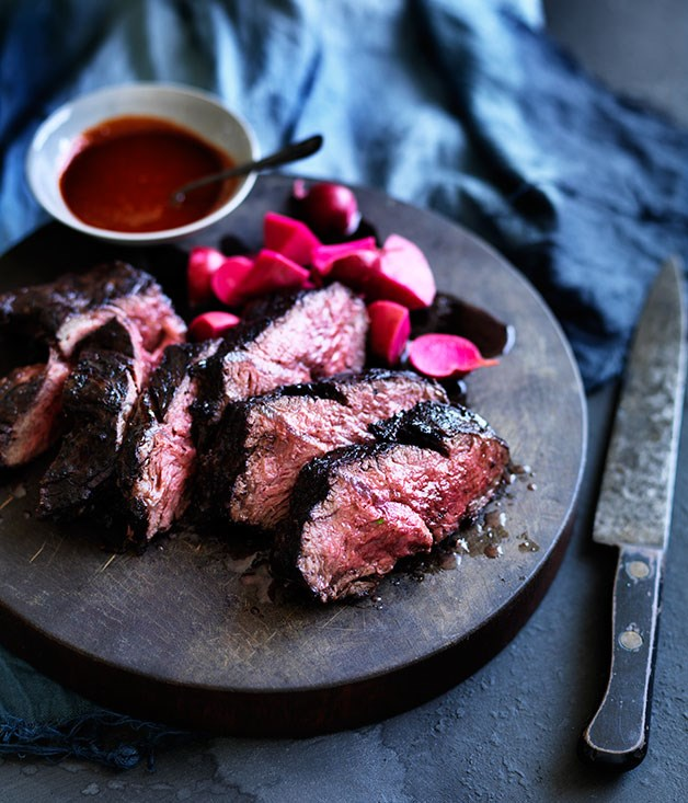 Butcher's steak with fermented radishes and Korean hot sauce