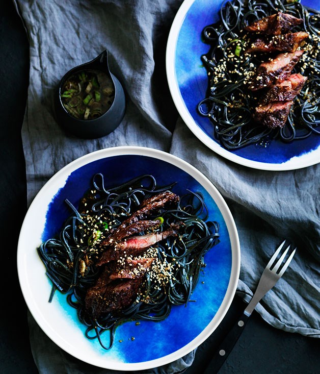 Grilled intercostals with soy, sesame and ginger and cold noodles