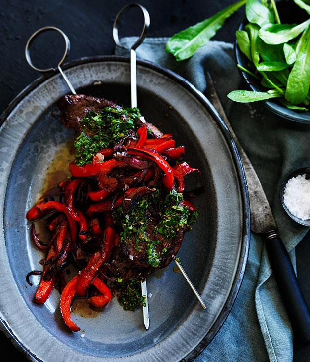 "**[Picanha, chimichurri and sweet and sour peppers](https://www.gourmettraveller.com.au/recipes/browse-all/picanha-chimichurri-and-sweet-and-sour-peppers-11872|target=""_blank"")**"