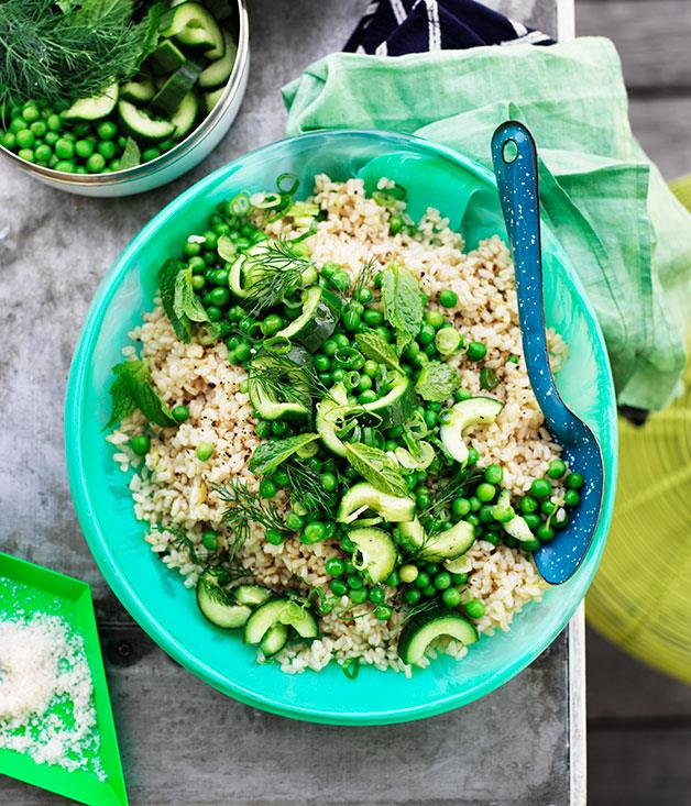 "**[Pea and cucumber rice salad](https://www.gourmettraveller.com.au/recipes/browse-all/pea-and-cucumber-rice-salad-11877|target=""_blank"")**"