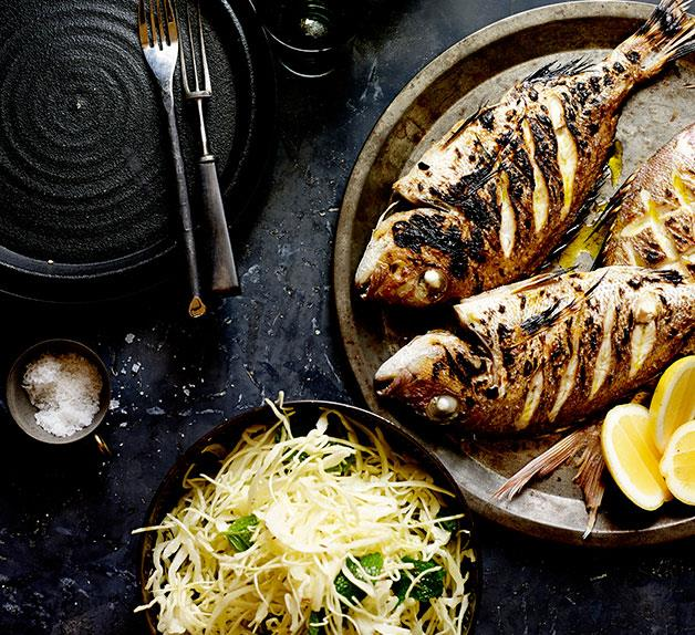 Baby snapper with cabbage, mint and caraway salad
