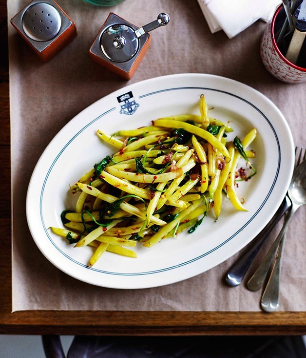 **Seared yellow beans 'n' greens**