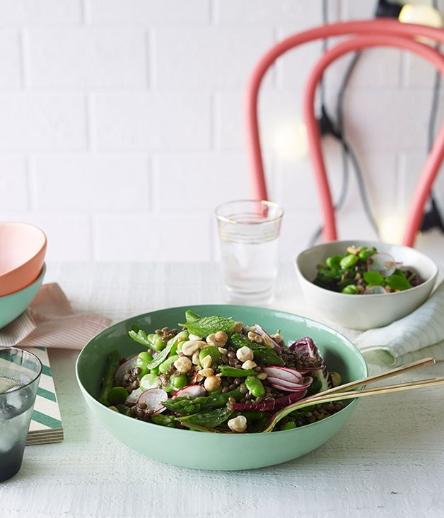 **Lentil, mint and broad bean salad**