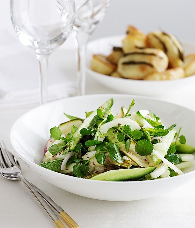 **Cucumber, mint and watercress salad with mustard seed dressing**