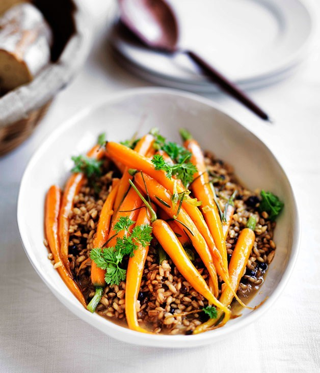 **Rosemary-glazed carrots with barley pilaf**