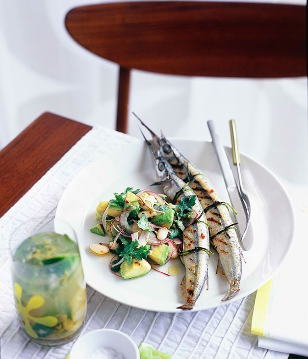**Garfish with white bean, avocado and chipotle chilli salad**