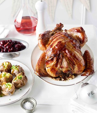 Turkey with chestnut, rosemary and apple stuffing and cherry-cranberry preserve