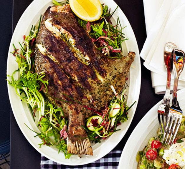 Grilled John Dory with zucchini and frisée salad
