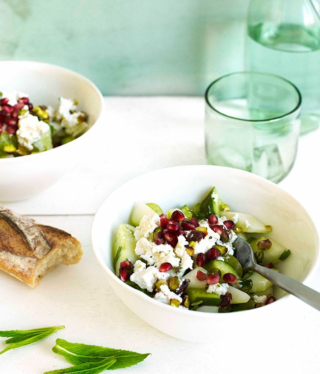 Cucumber, pistachio, grape and Persian feta salad