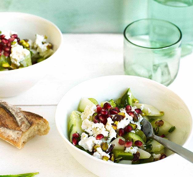 Cucumber, pistachio, grape and Persian feta salad