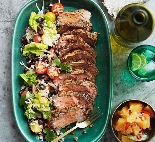 Pineapple-jerked pork neck with crushed pineapple relish and black bean and rice salad