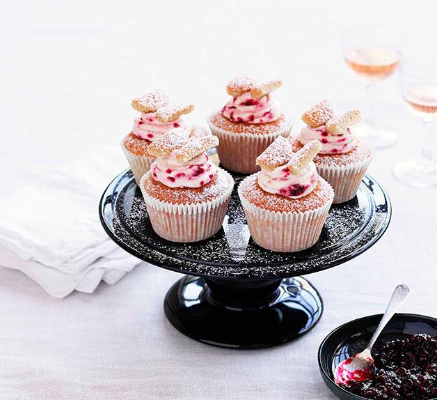 Brown sugar butterfly cakes with raspberry cream