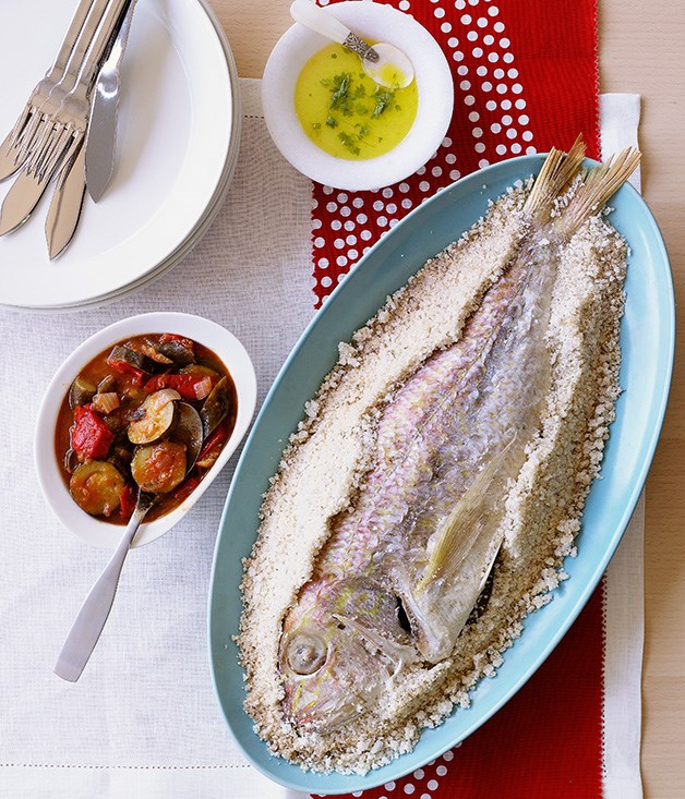 Snapper baked in salt with ratatouille