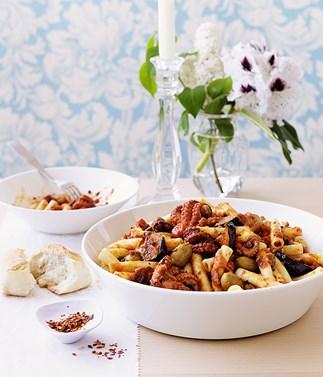 Baby octopus, tomato, eggplant and chilli pasta