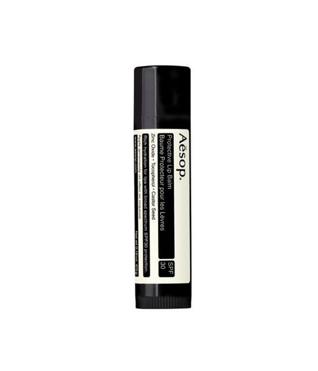 """**Aesop protective lip balm** Avoid a sunburnt kisser this summer with this protective lip balm from Aesop. It utilizes UVA and UVB filters to shield your skin from the sun without the use of paraffins, silicone or animal-derived products. _$19,_ [_aesop.com_](http://www.aesop.com """"Aesop"""")"""