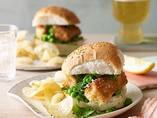 Fish finger and crushed-pea rolls