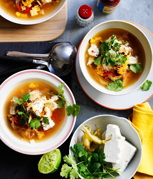 **Barbecued corn soup with chicken, coriander and feta**