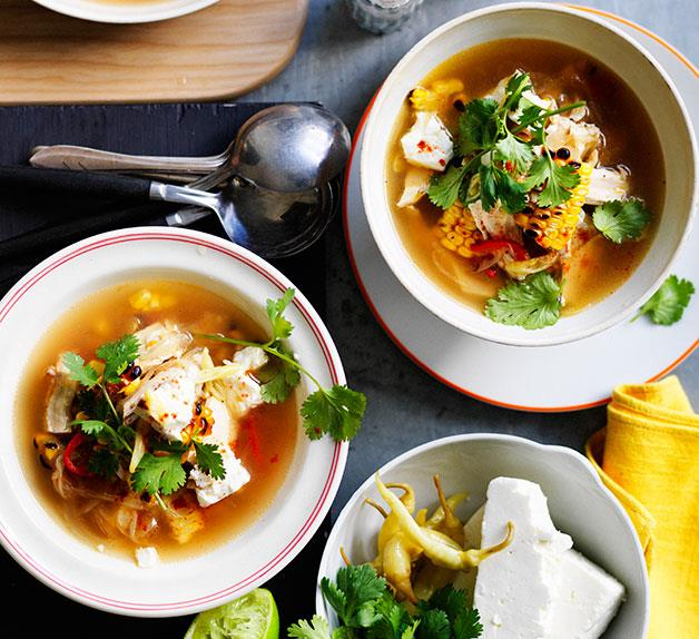 Barbecued corn soup with chicken, coriander and feta