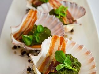 Guy Grossi's scallops Rockefeller