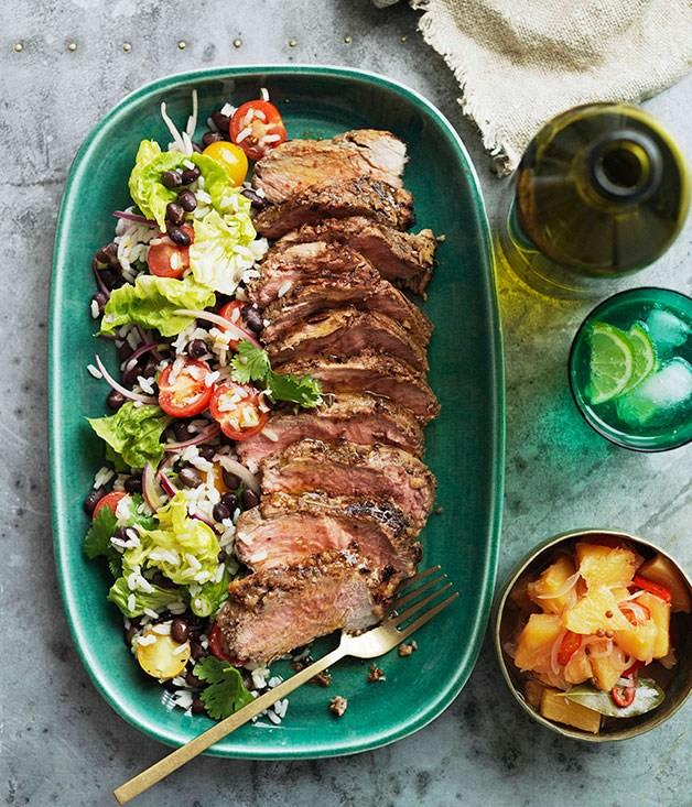 "[**Pineapple-jerked pork neck with crushed pineapple relish and black bean and rice salad**](https://www.gourmettraveller.com.au/recipes/browse-all/pineapple-jerked-pork-neck-with-crushed-pineapple-relish-and-black-bean-and-rice-salad-10886|target=""_blank"")"